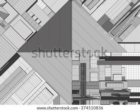 Urban City Of Skyscrapers Vector 325 - stock vector