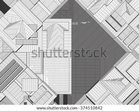 Urban City Of Skyscrapers Vector 329 - stock vector
