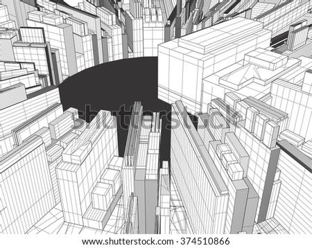 Urban City Of Skyscrapers Vector 323 - stock vector