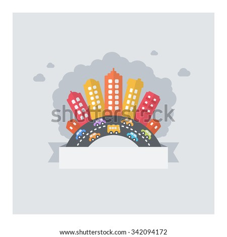 Urban city pollution. Vector design of modern cityscape polluted with textarea and busy streets. - stock vector