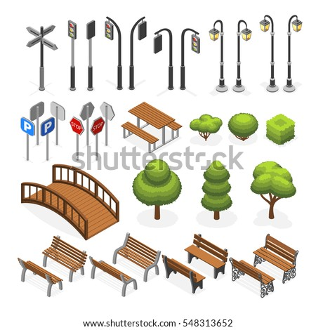 Urban city street miniature isometric vector objects, benches, trees, streetlight, seats, road signs