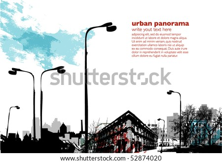 Urban collage with grungy effects - stock vector