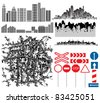 Urban collection. Set of different design manually drawn city theme vectors. - stock