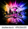 Urban Colorful Discoteque Event Background with abstract music elements - stock vector