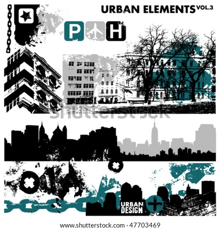 urban design elements / 3 - stock vector