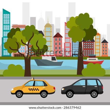 Urban design over cityscape background, vector illustration. - stock vector