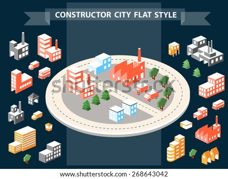 Urban Designer landscapes of the city. Design set in a flat style with houses, roads and transport
