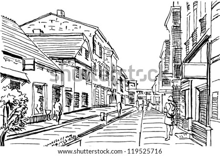 urban doodle drawing. vector - stock vector