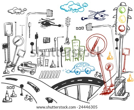 Urban Doodles - Vector - stock vector