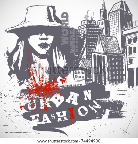 Urban fashion grunge background - stock vector