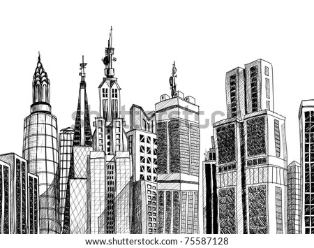 Urban generic architecture sketch - stock vector