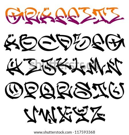 urban graffiti style alphabet letters