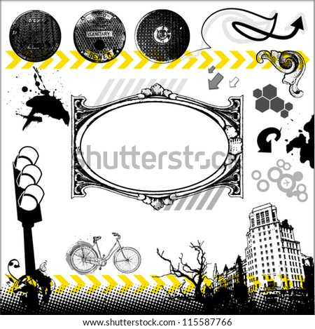 Urban grunge set with place for Your text - stock vector