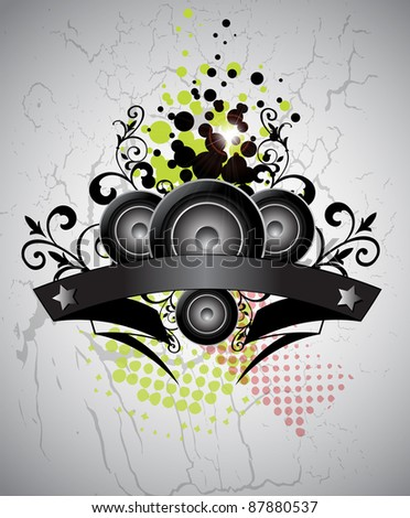 Urban grungy music background with place for text, vector - stock vector