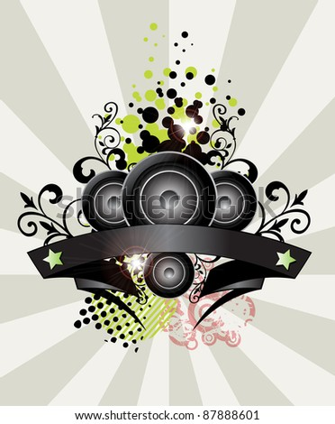 Urban grungy music banner with place for text, vector - stock vector