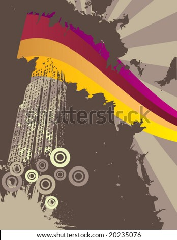 urban grungy vector background illustration with dirty skyscraper and rainbow element - stock vector