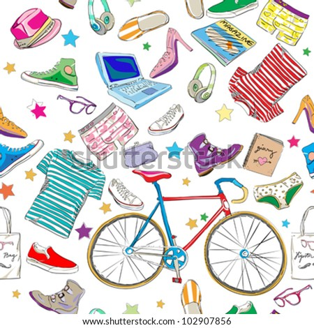 urban hipster accessories pattern, smart colored doodles over white - stock vector