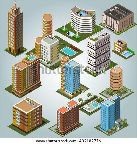 Urban isometric buildings  - stock vector