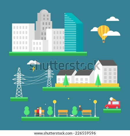 Urban landscape: business center, skyscrapers, houses, park. Vector illustration, flat style - stock vector