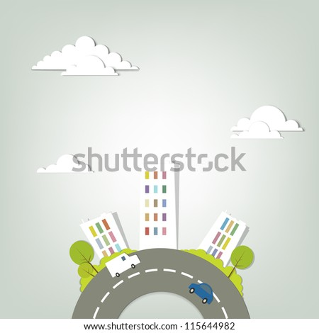 urban landscape. creative vector applique. - stock vector