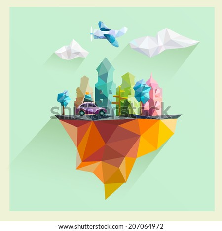 Urban landscape. Flat design. - stock vector