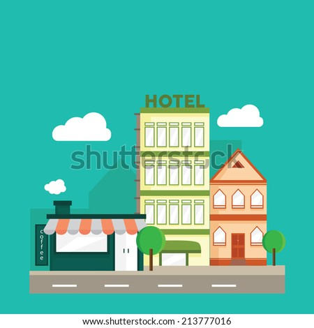 Urban Landscape Flat Design - stock vector