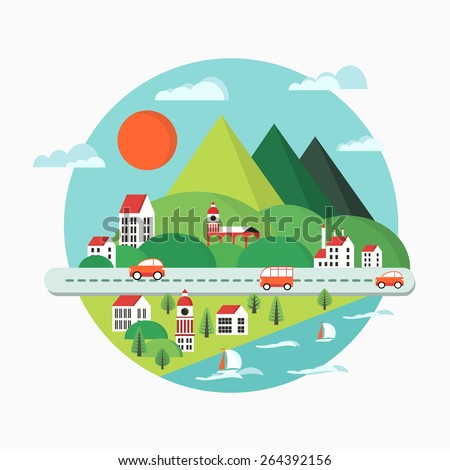 Urban landscape in the style of a flat city, city buildings, vehicles and vessels, yachts and waves. - stock vector