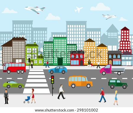 Urban landscape. View of city street with industrial buildings and shopping centers. Roadway with car traffic and pedestrians on the sidewalk in the foreground - stock vector