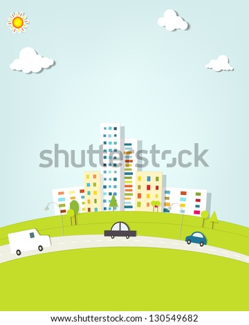 urban landscape with cars - stock vector
