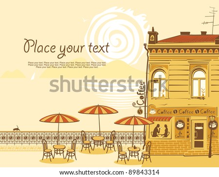 urban landscape with street cafes and the sea - stock vector