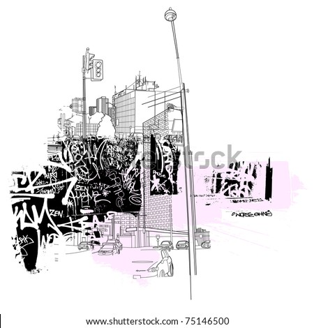 urban life images - stock vector