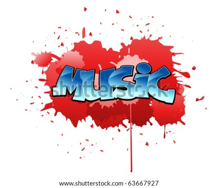 Urban music graffiti design on blobs background. Jpeg version also available in gallery - stock vector