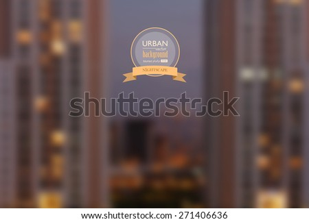 Urban nightscape blurred photo background, vector illustration