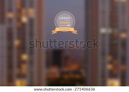 Urban nightscape blurred photo background, vector illustration - stock vector