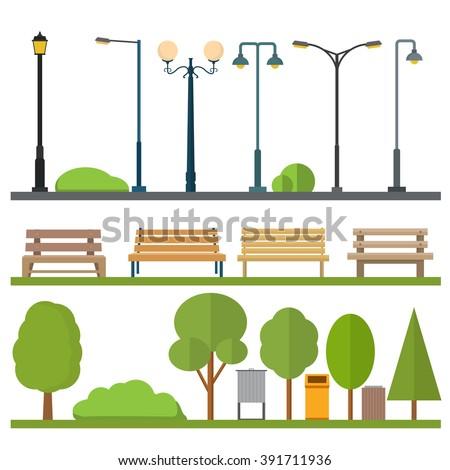 Urban outdoor decor elements - stock vector