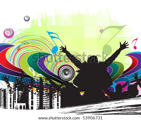 urban party concept, silhouettes of group dancing , vector illustration - stock vector