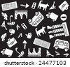 Urban pattern. Seamless pattern about urban life. But every object can be used separately. - stock photo