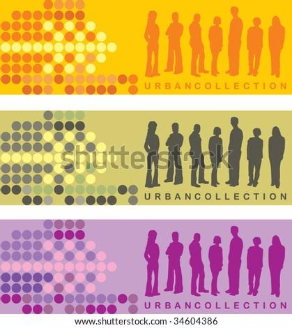 Urban people card designs - stock vector