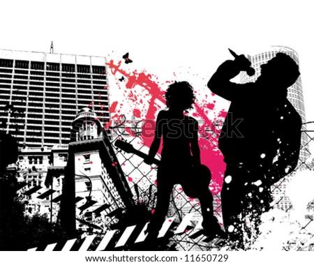 Urban Rock Band - stock vector