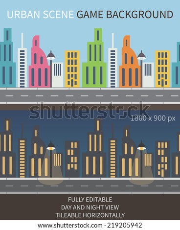 Urban scene game background. Night and day view, fully editable vector. Tileable horizontally - stock vector