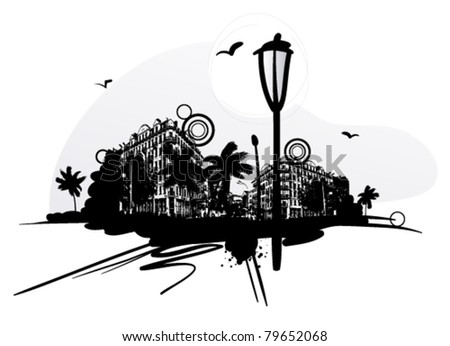 Urban scene with lantern and design elements - stock vector