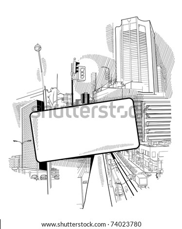 urban scenery with a hatch - stock vector
