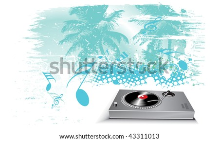 urban screen illustration on a musical theme with turntable mixing beats - stock vector