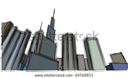 Urban sketch - stock vector