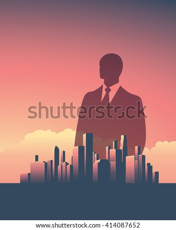 Urban skyline cityscape with businessman. Double exposure vector illustration landscape background. Vertical portrait orientation. Symbol of corporate world, banks and business tycoons. Eps10. - stock vector