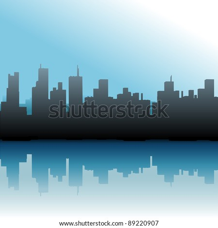 Urban skyline of port city skyscraper buildings on a river or sea - stock vector