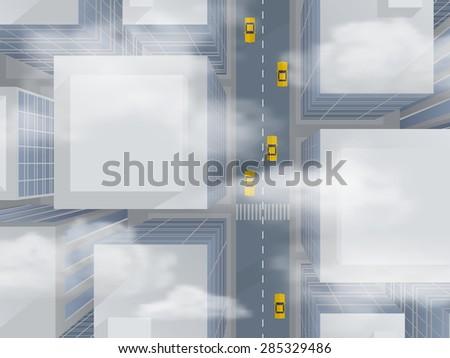 Urban skyscrapers through the smog, top view  - abstract vector illustration. - stock vector