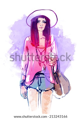 Urban street style: Pretty hipster girl with pink hair holding coffee cup portrait isolated on white background, sketchy style fashion illustration  - stock vector