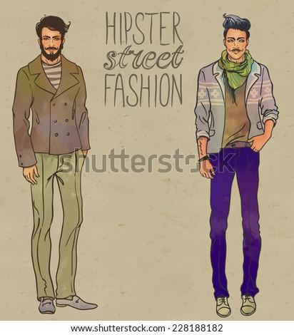 Urban style: Hipster fashion trendy men. Full length vector portrait.   - stock vector