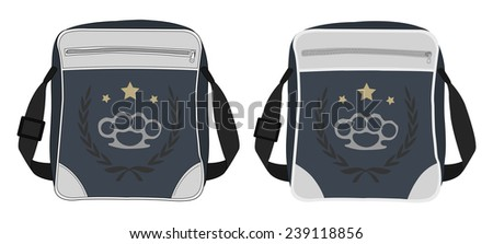 Urban teenager shoulder bag with print. Clip art color vector illustration isolated on white - stock vector
